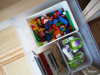 ボックスにまとめるときには、お子さんと一緒に「どこに何を収納するか」、1ボックスに1カテゴリで決めておくと片付けがスムーズに。