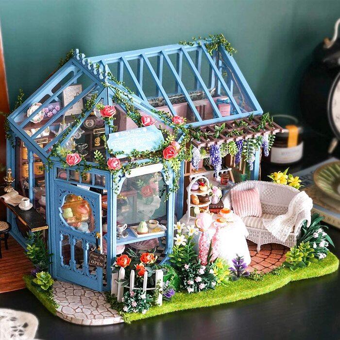 CuteBee DIY木製ドールハウス、Rose Garden 、手作りキットセット、ミニチュアコレクション、LEDライト、オルゴール、ディスプレイ用ケース付き、電池AAA*2必要 (A-068)