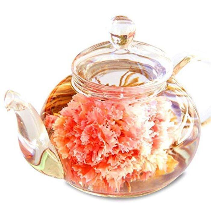 花咲くお茶 カーネーション茶 工芸茶10種類&ティーポット 優雅セット お茶&茶器セット