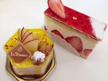 ル・ポミエのケーキはその可愛らしさも特徴です。店内にはシェフのご友人のパンも並んでいますよ。日常から記念日まで様々な利用方法ができるお店です。