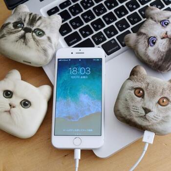 個性的な顔立ちの猫たちが4柄あるので、お気に入りの子を選んだり、愛猫に似た子を探すのもいいですね。持ち運びにも便利で、スマホを使うのも楽しくなりそう♪
