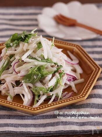 ツナと大根、マヨネーズの組み合わせは相性ばっちりですよね。 白だしを入れて、旨味しっかりのハイレベルな大根サラダです。