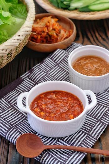 韓国では茹で肉や米を葉野菜に包んで食べるときに使われる「サムジャン」。味噌とコチュジャンがベースで、日本人の口にも合う万能調味料です。 火も使わず材料を混ぜるだけなので、忙しいときにもパパッと作ることができて嬉しいですね。パンチのある辛さがほしいときは、青唐辛子のみじん切りがおすすめだそう。お好みに合わせて調節してみてください。