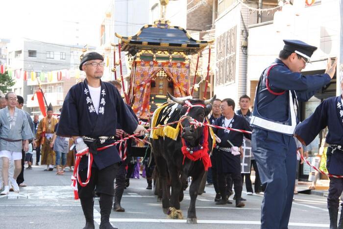 5年に一度の大祭では、黒雄和牛が神牛として町内を練り歩きます。きらびやかに飾ったお神輿を曳く牛の姿は、都心ではあまり見かけなくなった風景。下町ならではの歴史が感じられます。