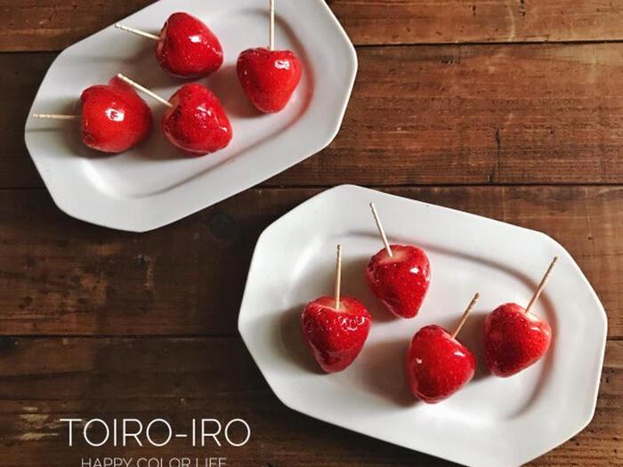 お家のおやつで、お祭り気分*可愛い「フルーツ飴」レシピ集
