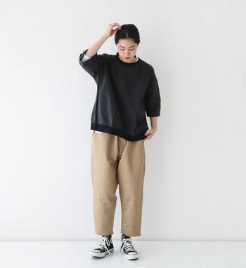 リブデザインがポイントになったプルオーバー。希少性の高い綿花の生地は、軽い着心地でデイリーに使いたくなるアイテムです。パンツでもスカートでもリラックス感のあるおうちコーデがつくれますよ。
