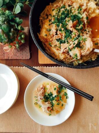 こちらは豚肉を使った重ね蒸しのレシピ。豆腐が入っているので食べ応えがあり、ヘルシーなのも嬉しいですね。野菜やお肉からでた旨味でスープまでおいしく頂けるので、ご飯が進みそうです。