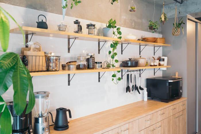 みずみずしさを演出するインテリアグリーンは、キッチンを華やかに。 キッチンがお気に入りの場所になれば、料理はもっと楽しくなるはず。身近な場所で日々その成長を感じられるのは楽しいものです。