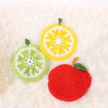 丸型の作り方を応用すれば、レモンやりんごなど、そのほかにもいろいろなフルーツのアクリルたわしが作れますね。
