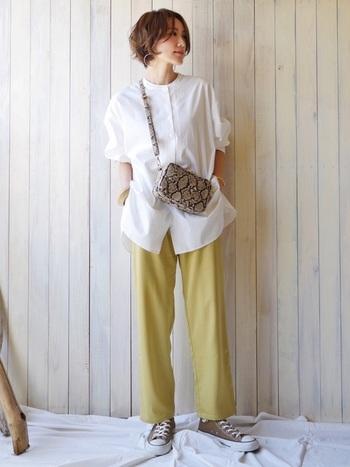 ホワイトシャツを個性的に着こなしたいなら、華やかなパステルイエローのパンツをプラス。春の花が咲いたような明るさが、幸せ気分を運んでくれそう。元気に過ごしたい日に、コーディネートしてみては。
