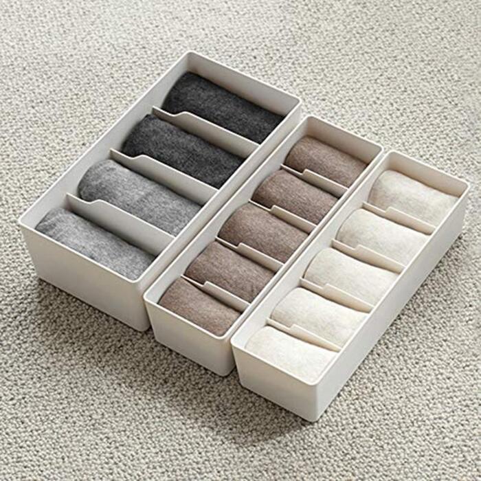 仕切りボックス プラスチック(ホワイト/4格×2個セット)