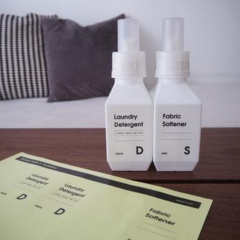 sarasa design(サラサ デザイン)愛用者の中でも人気が高いランドリーボトルシリーズ。キャップには目盛りも入っているので、洗濯洗剤、柔軟剤なども使いやすいですね。