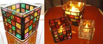 ガラスの容器を使って作る、ステンドグラス風のキャンドルホルダー。透けてみえる炎が揺らめき、落ち着ける空間を演出してくれます。