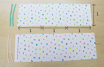 あずま袋を作るのに必要なのは、基本のタイプなら実は布1枚だけ。縦横比が約1:3の布があれば簡単に作れてしまうんです。裏布を付けたい場合は、布を2枚用意してくださいね。もちろんリバーシブル出来る様に布を選ぶのも◎です。縫う時にリボンなどを一緒に縫い込んでアレンジするのも楽しそうですね。