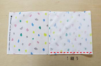 4辺の縫代の処理が終わったら、布の三分の一を中表に折って重なった部分を縫います。リボンなどを縫い込みたい時には、この時に布と布の間の挟んでおいてくださいね。