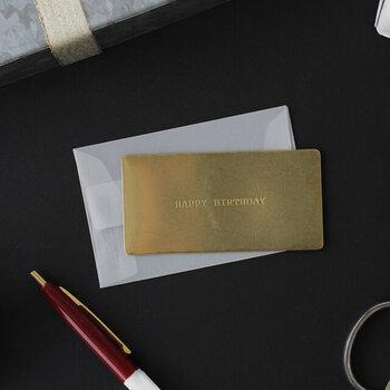 アンティークな風合いを感じられる真鍮のグリーティングカードと封筒のレターセット。プレゼントをもっと特別なものにしてくれる、高級感のある光沢が素敵です。