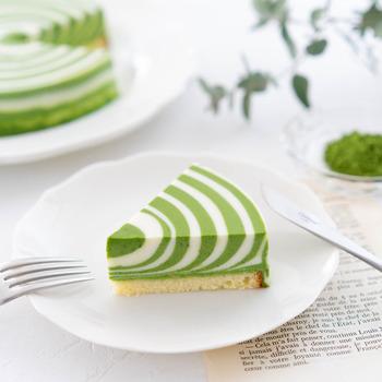 こちらのレアチーズケーキは、ゼブラ模様!白と緑がはっきりしていてとてもキレイですね。プレーン味の生地と抹茶味の生地を作って、模様を描いていきます。やり方はとてもシンプルで、少しずつ生地を交互に流し込んでいくだけ。ただ、慎重さは必要になるので丁寧に進めていきましょう。常に中心をめがけて生地を流すのがコツなのだそう♪