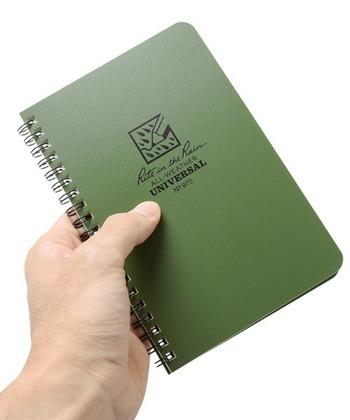 ノート型やメモ、一枚紙などいろいろなパターンがありますが、こちらは米軍で使われているノート。耐水性のほか耐火性や破れにくい性質があって、お風呂はもちろん普段遣いにも良さそう。