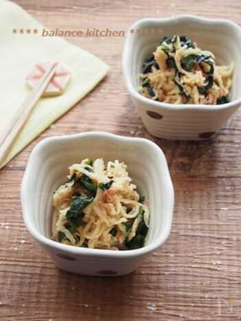 食感がクセになる中華風マリネ。切り干し大根は水で戻さずに、ポリ袋で他の材料と混ぜて10分ほど置きます。定番の煮物以外で、切り干し大根を活用できるおすすめレシピ!