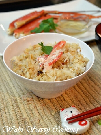 「鍋用の安い蟹で十分!ちょっと工夫を凝らすだけで、蟹の風味をフルに生かした美味しいご飯が炊けます!」(by作成したアサヒさん)。ご飯は軟らかめに炊くほうがおいしいとのこと。