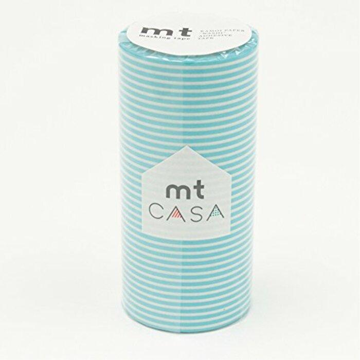 カモ井加工紙 マスキングテープ mt CASA 100mm ボーダー・パステルブルー