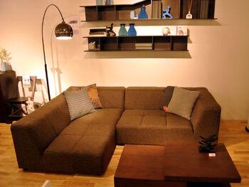 くるんっと美しいカーブを描くフロアランプ。L字のソファのコーナー部分を照らしてレイアウトするのもおしゃれです。ホワイト・ブラック・グレー・シルバーなどのニュートラルカラー(無彩色)なら、どんなお部屋のコーディネートにも合わせやすですよ♪