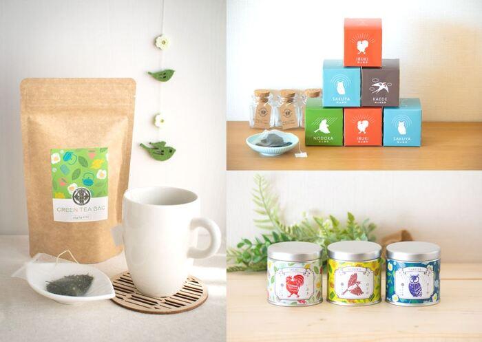 お茶の種類は寝る前にも飲みやすい「さくや(梟デザイン)」、目覚めの朝にぴったりな「いぶき(鶏デザイン)」、やさしい味わいで評判の「和紅茶 かえで(燕デザイン)」など、さまざま。かわいいパッケージは、お部屋に飾っておいても気分が明るくなりそうです。お茶づくりととともに、パッケージデザインや販売まで手掛けているのも「ささら屋」の魅力。多種多様なお茶とかわいいパッケージは日本茶をより身近に感じさせ、おうち時間に癒しをもたらしてくれます。