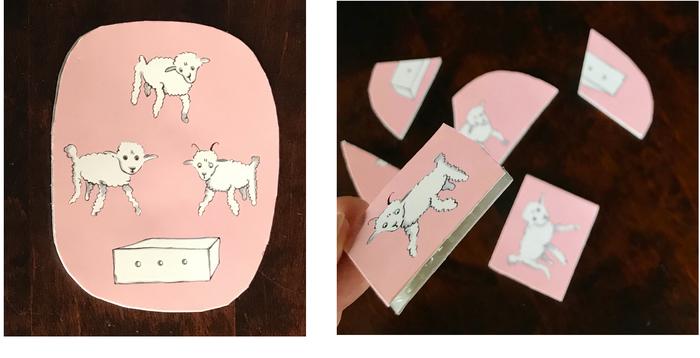 こちらは、表面にツヤのあるポストカードでつくったパズル。ポストカードの裏面に、いらなくなったプチプチ紙袋+厚紙を貼って厚みをもたせることで、パズルのピースをつくりました。