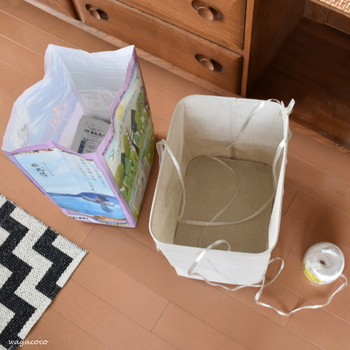 無印のソフトボックスに梱包用のひもを設置し、その上に新聞紙を置くようにすれば、資源ゴミの日にひもを結んでまとめやすい。生活の知恵ですね。