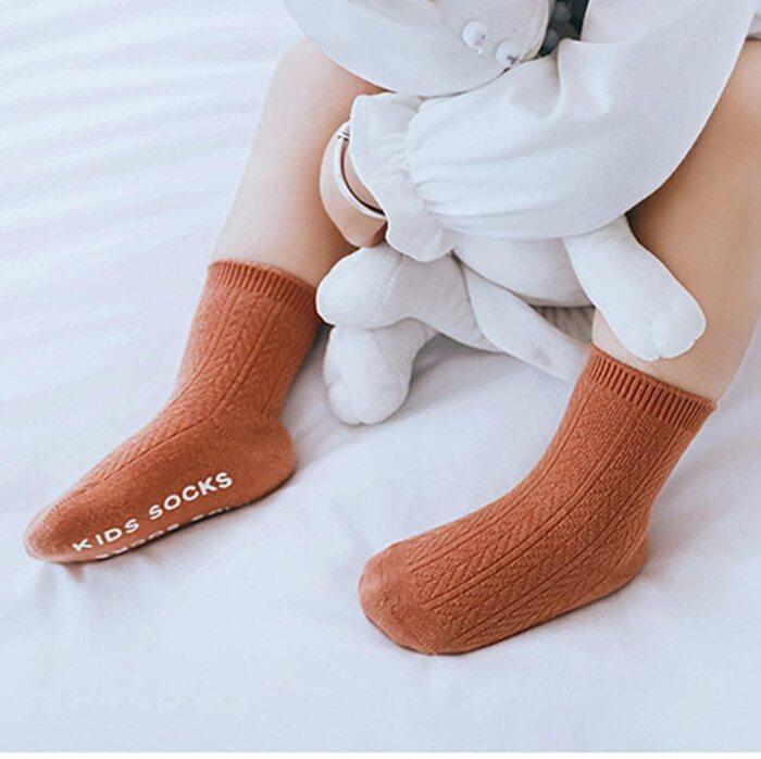 EPEIUS ベビー靴下 滑り止め付き 0-8歳 7cm-18cm カラーバリエーション 3足セット(B1315)