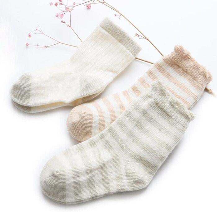 ベビー ソックス 新生児 靴下 オーガニックコットン 8-10cm (4足セット)