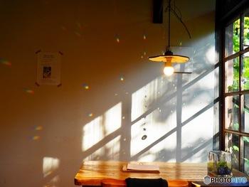 壁に移る影もこんなに素敵に。大きな窓の近くなら、お部屋に居ながら外にいるような感覚が味わえます。
