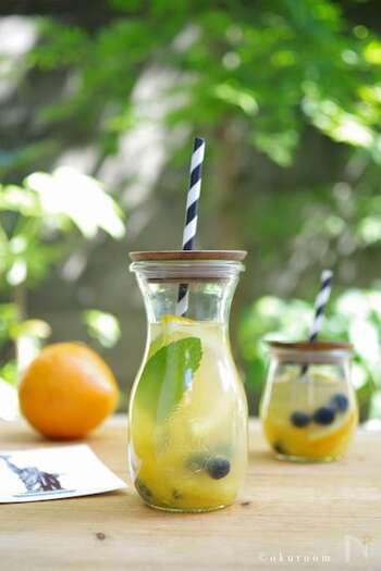 オレンジやグレープフルーツなどの柑橘類は、サングリア・ブランカにぴったり。アクセントに入れたブルーベリーも可愛いですね♪のどを爽やかに癒してくれる簡単サングリアです。