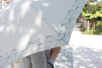 「korko(コルコ)」の傘も晴雨兼用の傘です*刺繍の入った上品なデザインの傘で、傘をさしているだけで、女性らしさが伝わる傘となっています♡ナチュラルで品の良い傘をお探しならコルコの傘はいかがですか?
