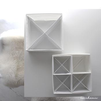 こちらのブロガーさんは、垂直の仕切りも活用しています。IKEA(イケア)のボックスに、ダイソーの仕切り板を合わせているのだそう。別ブランドのアイテムを組み合わせたユニークな方法です。独立した仕切りも交差させることで安定のフィット感に。見た目もおしゃれで良いですね♪