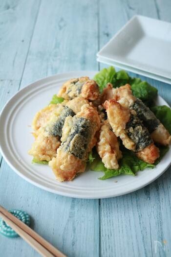 そめんと一緒にいただきたい人気レシピの天ぷら。ボリュームもあり満足度も高いけれど色々揚げたりするのはちょっと大変…という方、こちらのレシピなら、鶏ムネ肉に海苔、しかも下味はうすくち醤油だけで美味しく作れるので、そうめん+1品に最適かも。