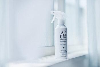 除菌スプレーの大定番、A2Careの除菌消臭スプレーです。99.99%の精製水と0.01%の二酸化塩素で作らており界面活性剤も含まれていない安全安心なこちらは、公正な専門機関にて高い除菌効果が認められた非常に優れた除菌スプレーです。