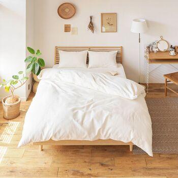 こちらは凹凸のあるワッフル織りの生地を使用した、綿100%の掛け布団カバー。ナチュラルな色合いで、さらりとしながらもソフトな肌触り。優しい雰囲気のお部屋にもぴったりです。心地よくてベッドから出られなくなるかも♪