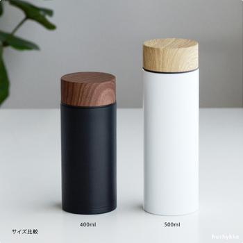 500ml:φ約68×H210(mm)と400ml:φ約68×H163(mm)の2サイズ。どちらもスリムタイプなので、バックに入れて持ち運びしやすい仕様になっています。