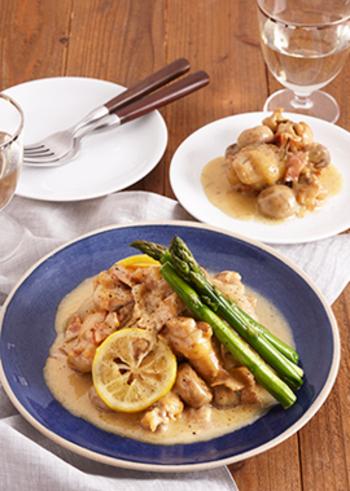 クリーム系ですが、ハーブやレモンとともにマリネした手羽元を使っているのでとても爽やか。圧力鍋を使用して、時短ながらも柔らかな食感に仕上げています。ディナーのメインにもおすすめのおしゃれ料理ですね。