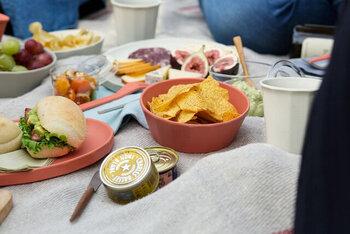 カラフルなボウルは、フルーツやスナックを盛るだけでも、おしゃれに。おうちキャンプはもちろん、ピクニックや普段のおやつ時間にも使いやすいです。