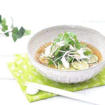 冷たいつゆに入った蕎麦は食べ慣れていない人も多いかもしれませんが、さっぱりして暑い夏の日におすすめ。冷水でしめたそばにすだちと香味野菜をのせて、めんつゆをかけるだけの簡単レシピ。