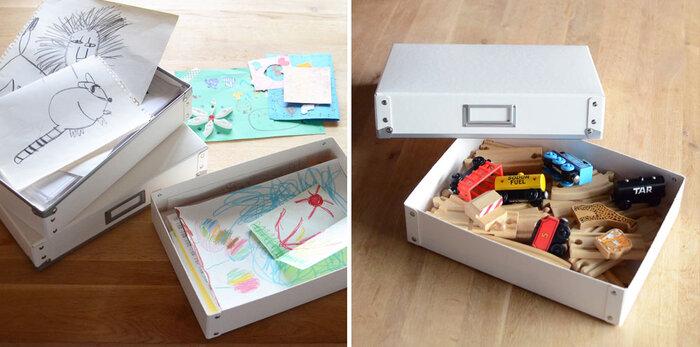 書類や手紙のほか、おもちゃの整理にも活用できます。前面にラベルが付いているので、いくつか揃えても大丈夫です。