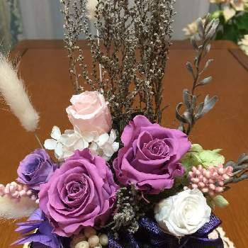 同じ紫でも薄い色から濃い色まであるのが、ブリザーブドフラワーのポイント。贈る人の顔を思い浮かべながら、似合いそうな色合いでアレンジしてみるのも素敵ですね。