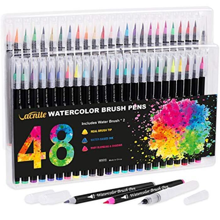 VACNITE 水彩毛筆 カラー筆ペン 48色セット 収納ケース付き