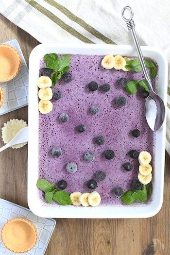 鮮やかな紫色が魅力的なブルーベリーのアイス。ヨーグルトを使うので爽やかに仕上がります。冷凍ブルーベリーなら固まる時間が早くなる上に、リーズナブルに用意できるメリットも。