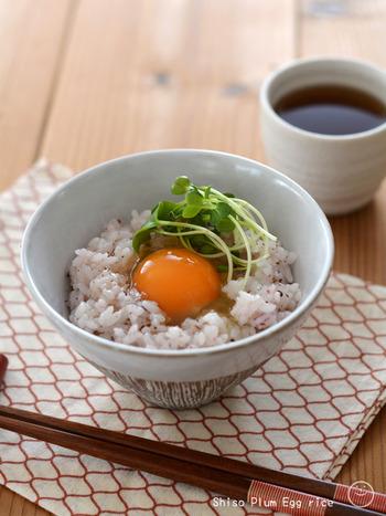 温かい白ごはんに、市販の梅ペーストを混ぜ込んで、卵を乗せるだけの簡単なレシピです。梅の酸味が卵のおかげでまろやかになりますよ。  梅ペーストではなく、自分でたたき梅を作って混ぜるほか、しそふりかけを混ぜ込んでもいいですね。
