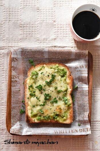 サワークリームが少し残ったときなどにおすすめのアボカドトースト。パンにサワークリームを塗って、アボカドをつぶしたものやチーズなどをのせて焼くだけです。朝からテンションが上がるごちそうトーストのできあがり♪