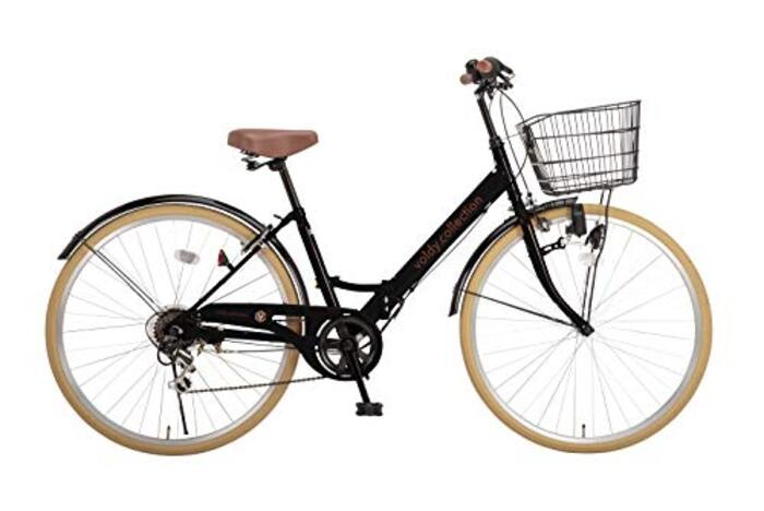 voldy.collection 自転車 26インチ折りたたみシティサイクル VFC-001 ブラックxベージュ