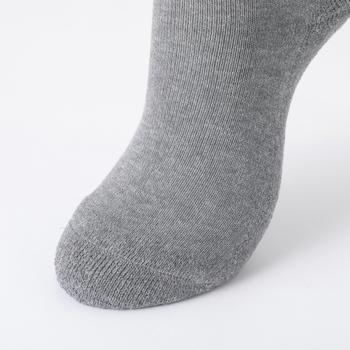 足裏を覆うようにかかとからつま先までパイル状に編み立てられています。たくさん歩く日の足を肉厚なパイルが守ってくれるから、安心感ある履き心地。